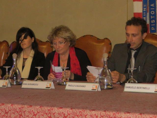 Arch. Nazila Khaghani (President of CICOP Net Iran), Arch. Nina Avramidou (President of CICOP Net), Arch. Paolo Caggiano (General Secretary of CICOP Italy), at the 18th General Assembly of ICOMOS International, Florence 2014.